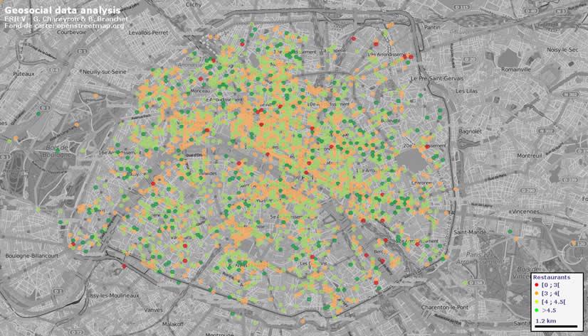 Notes moyennes par secteurs issues de Tripadvisor entre 2011 et 2015  pour les hôtels sur Paris